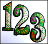 "House Numbers, Metal Address Numbers, Hand Painted Metal 7 1/2""  High"