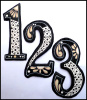 Hand Painted Metal Address Number - Decorative House Numbers - 7 1/2""