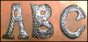 Hand Hammered Metal Letters - Recycled Steel Drum Art - 4 1/2""""