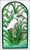 "White Egret Metal Wall Hanging. Painted Tropical Decor. 21"" x 38"""