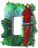 "Scarlet Macaw Parrot - Painted Metal Rocker Switchplate Cover - 1 Hole - 5"" x 7"""