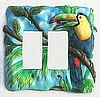 "Painted Metal Toucan - Double Rocker Switchplate Cover - 6 1/2"" x 6 1/2"""