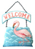 "Painted Metal Flamingo Welcome Sign - Tropical Home Decor - 10"" x 10"""