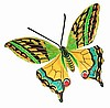 "Painted Metal Butterfly Wall Decor - Tropical Butterflies - 9"" x 13"""