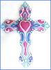Cross Wall Decor - Painted Metal Wall Hanging - Christian Art - 13""