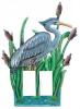 Blue Heron Metal Rocker Switch Plate - Hand Painted Metal Art - 2 Holes