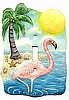 Tropical Pink Flamingo - Hand Painted Metal Single Switchplate Cover