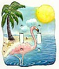 Flamingo Light Switch Cover - Hand Painted Metal Home Decor - 2 Holes