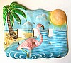 Tropical Pink Flamingo - Hand Painted Metal Triple Switchplate Cover