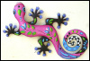 Painted Metal Gecko Wall Hanging, Metal Decor,Outdoor Wall Art,Funky Wall Decor - Bright Pink  - 24""