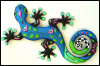 Gecko Wall Hanging - Hand Painted Outdoor Metal Garden Art - Tropical Decor  - 24""