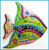 "Hand Painted Metal Tropical Fish Wall Art - Garden Art - 21"" x 25"""