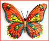 Butterfly Wall Hanging, Painted Metal Tropical Decor, Haitian Metal Art, Outdoor Metal Wall Art - 24""