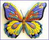 "Painted Metal Butterfly Wall Hanging,Tropical Art,Tropical Decor,Tropical butterflies,Metal Art Outdoor Garden Decor, 19"" x 24"""
