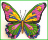 "Painted Metal Butterfly Wall Hanging,Metal Outdoor,Outdoor Metal Art,Outdoor Garden Decor, Haitian Metal Art, 29"" x 34"""