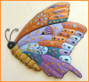 Butterfly Art, Painted Metal Butterfly Wall Hangings, Haitian Metal Art, Outdoor Garden Art - 24""