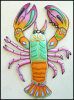 Lobster Wall Hanging - Hand Painted Metal Nautical Decor - 25""