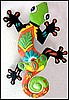 "Gecko Wall Decor - Haitian Hand Painted Metal Tropical Art -16"" x 24"""