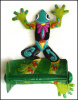 "Painted Metal Frog Toilet Paper Holder -,Tissue Holder, Tropical Bathroom Decor -  7"" x 12""."