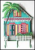 "Turquoise Painted Metal Caribbean House Wall Hook - 12"" x 17"""