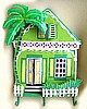 "Gingerbread House Wall Hook. Haitian Hand Painted Metal - Tropical Design 12"" x 17"""