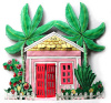 "Tropical Caribbean Gingerbread House Wall Hanging - Painted Metal - 11"" W  x 10"""