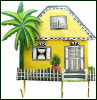 "Caribbean House Wall Hook - Painted Metal Tropical Decor - 11"" x 11"