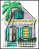"Painted Metal House Wall Hanging - Haitian Tropical Art - Island Decor - 12"" x 14"""