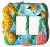 Hand Painted Metal Seahorse Rocker Switch Plate - Double