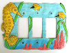 Hand Painted Metal Rocker Switch Plate Cover - Seahorse - 3 Holes