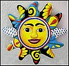 Sun Hand Painted Metal Outdoor Garden Wall Decor  - Handcrafted - 24""