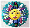 Painted Metal Sun - Handcrafted Tropical Garden Wall Art - 34""