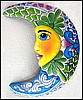 Painted Metal Art Moon Design, Tropical Wall Art, Outdoor Garden Decor - 17""