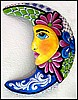 Moon - Hand Painted Metal Wall Art -  Handcrafted Haitian Wall Decor - 24""