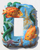 Hand Painted Metal Rocker Switch Plate Cover - Tropical Fish - 1 hole