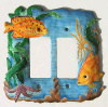 Hand Painted Metal Rocker Switch Plate Cover - Tropical Fish - 2 holes