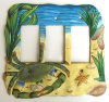 Blue Crab Hand Painted Metal Rocker Switchplate Cover Wall Plate - 3 holes