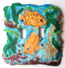 Hand Painted Metal Light Switchplate Cover - Tropical Fish - 2 holes