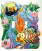 Hand Painted Metal Switch Plate Cover - Tropical Fish - 2 holes