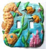 Hand Painted Metal Switch Plate Cover - Seahorse - 2 holes