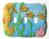 Hand Painted Metal Switch Plate Cover - Seahorse - 3 holes