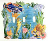 Hand Painted Metal Light Switchplate Cover - Tropical Fish - 3 holes