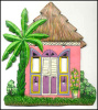 Hand Painted Metal Switch Plate Cover - Tropical Caribbean House - 2 Holes