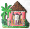 Painted Metal Switch Plate Cover - Thatched Roof Caribbean House - Tropical Decor