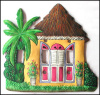 Painted Metal Tropical Caribbean House Switch Plate Cover - 3 Holes