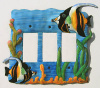 Hand Painted Metal Rocker Switch Plate Cover - Tropical Fish Switchplate