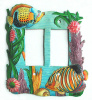 Painted Metal Rocker Switch Plate Cover - Tropical Fish Switchplate - 2 holes