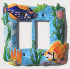 Painted Metal Rocker Switch Plate Cover - Tropical Fish - Wall Plate