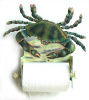 Blue Crab Toilet Paper Holder - Painted Metal Bathroom Decor