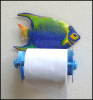 Painted Metal Toilet Paper Holder - Tropical Fish Bathroom Decoration